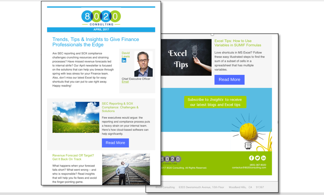 Email Marketing: 8020 Newsletter Good Example