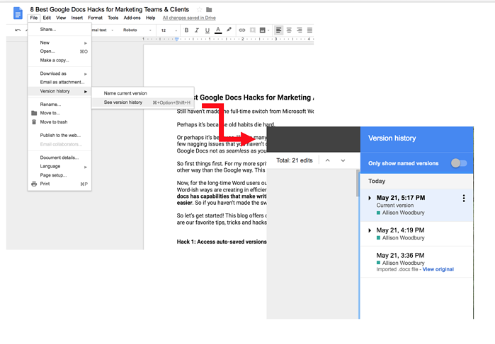 Google Doc Hacks: See Version History