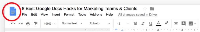 Google Docs Hack: Docs Home Button