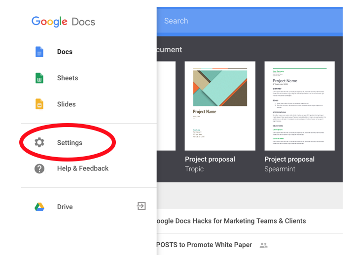 Google Doc Hacks: Select Settings