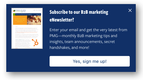 HubSpot Lead Flows: Newsletter Sign-up Example