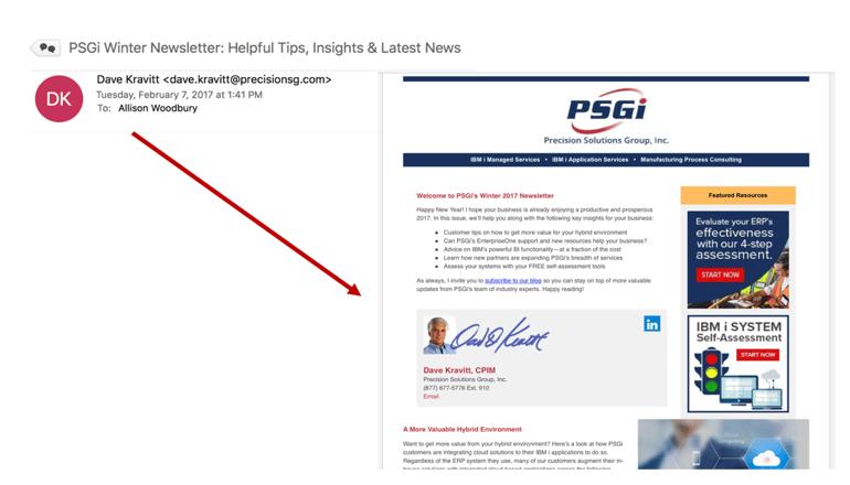 Email Marketing: PSGi Newsletter Good Example
