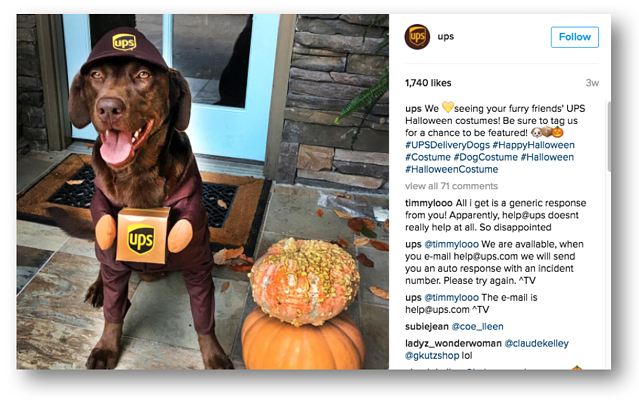 Instagram for B2B Marketing: UPS