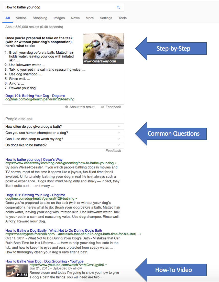 How to bathe your dog search result variations