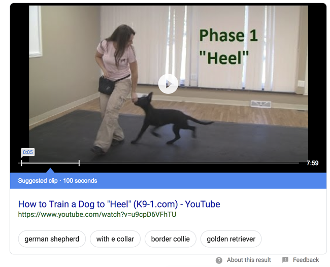 Featured Snippet Example: Video Snippet