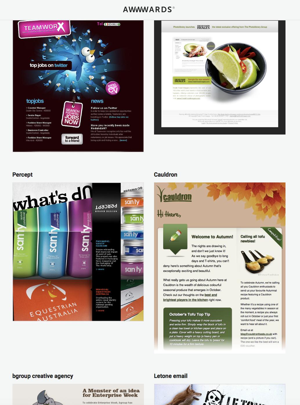 Newsletter design awwords result