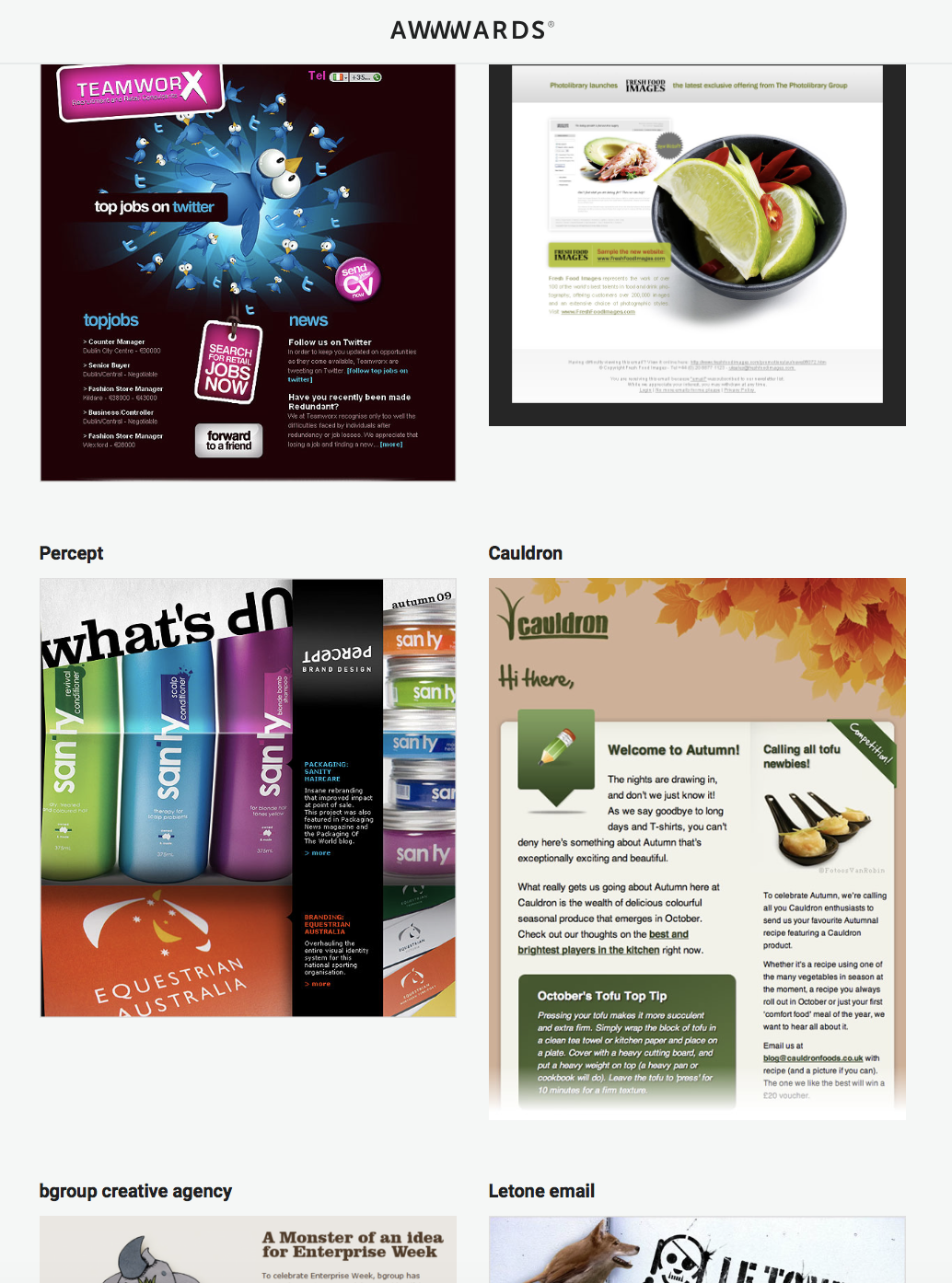 Newsletter design awwords result