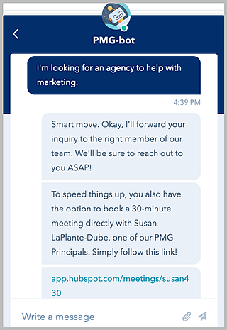 PMG Chatbot Example