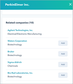HubSpot Prospects Tool – Related Companies