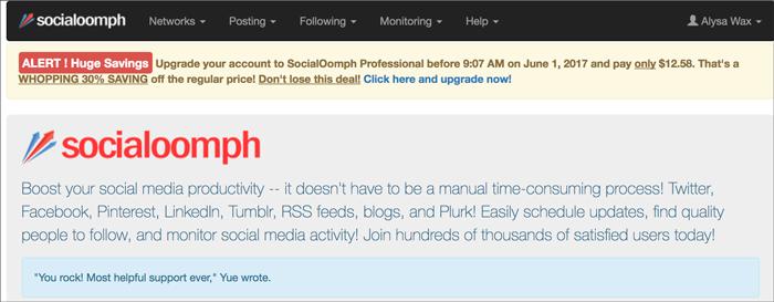 Twitter Marketing Tools: socialoomph
