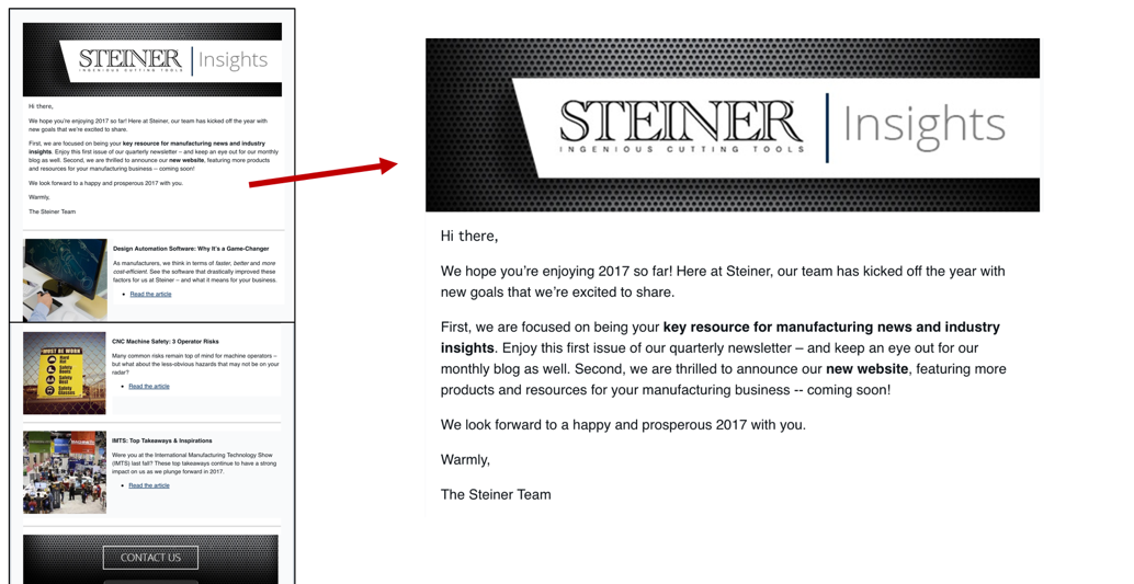 Email Marketing: Steiner Technologies Newsletter Good Example