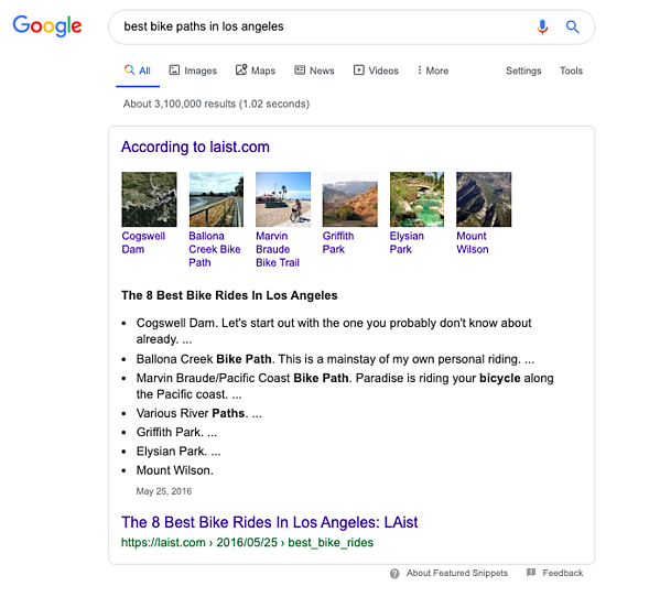 Google Search Example: Best Bike Rides in Los Angeles