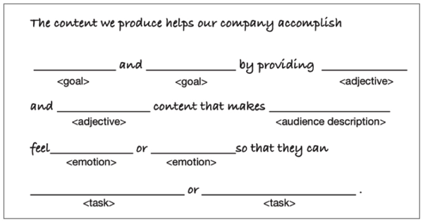 Core Content Marketing Strategy Statement (Template)