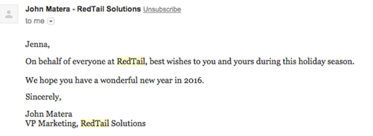 Holiday Email Marketing Example #2