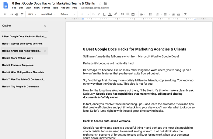 8 Best Google Docs Hacks For Marketing Agencies Their Clients