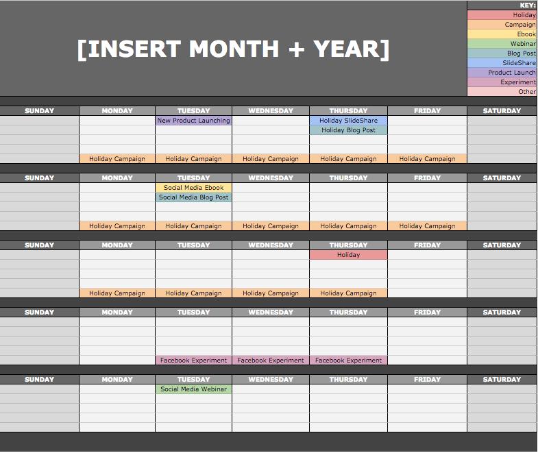 HubSpot Social Media Calendar Template