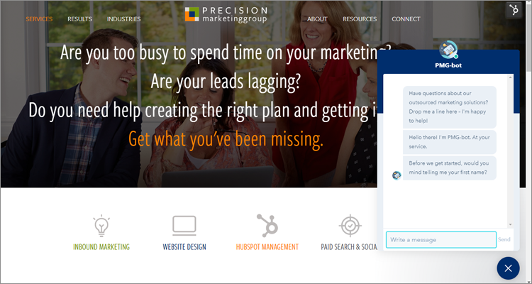 PMG-bot on Outsourced Marketing Services Page