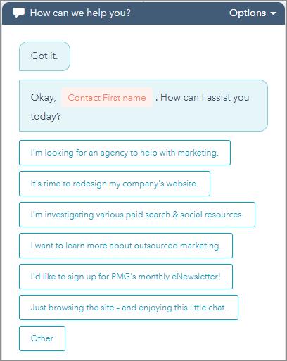 PMG-bot Conversation Options