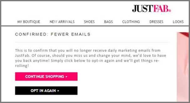 Unsubscribe Page Example: JustFab