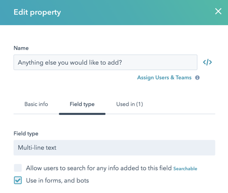 Check to allow a HubSpot field to be used in forms