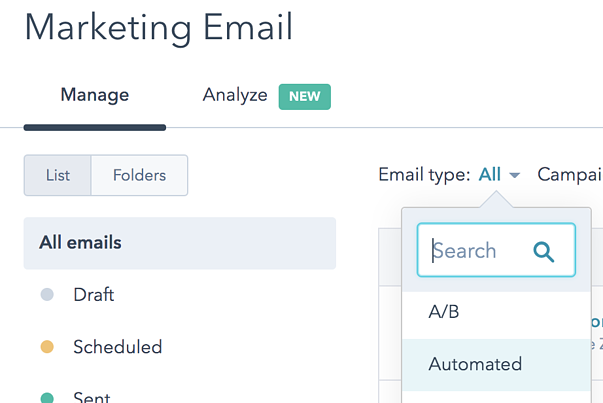 How to filter HubSpot email by email type