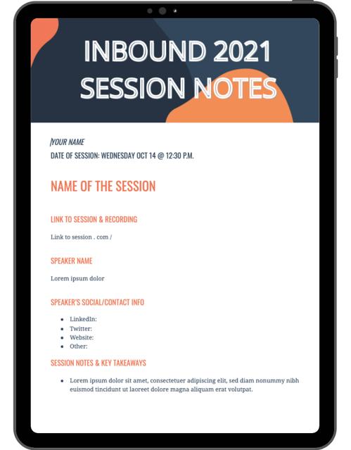 INBOUND 2021 Session Notes