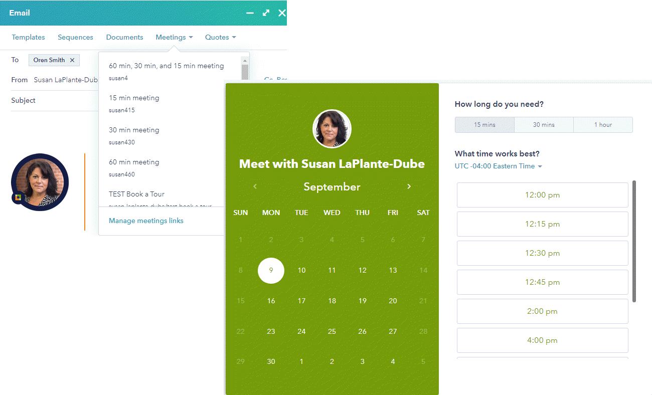 HubSpot Meetings Links Example
