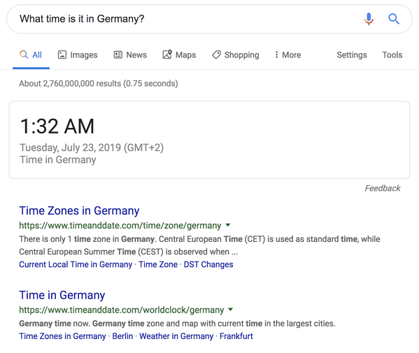 "Google SERP Feature Example for ""What time is it in Germany?"""