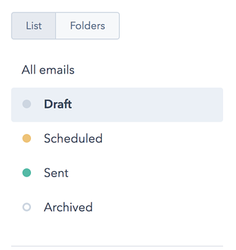 How to filter HubSpot emails by draft emails