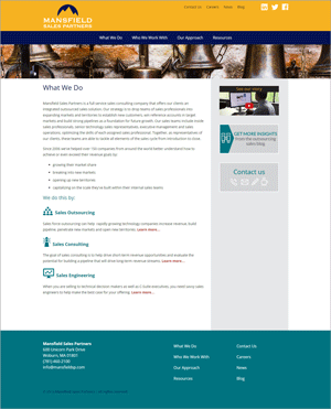 Mansfield Sales Partners Website Redesign: What We Do