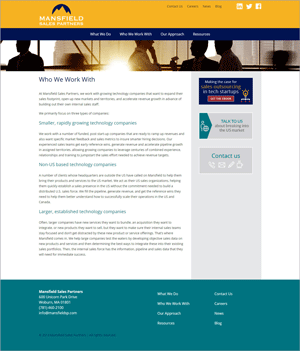 Mansfield Sales Partners Website Redesign: Who We Work With