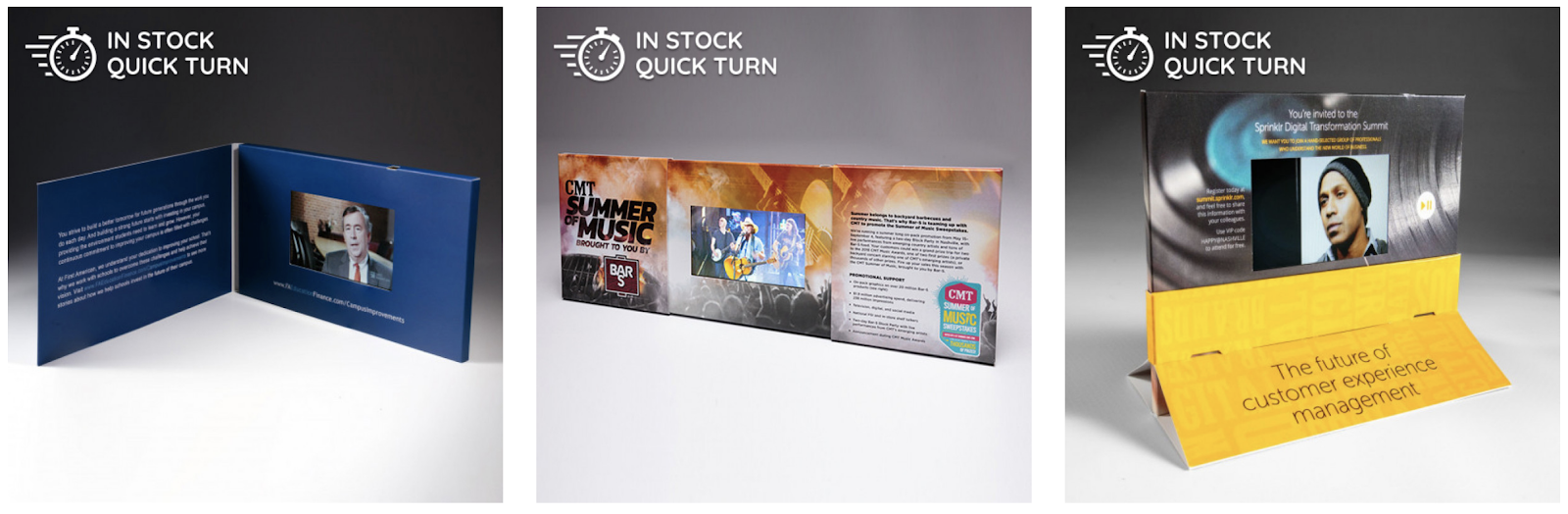 Examples of video brochure mailers